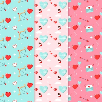 Pacote de padrão de design plano para o dia dos namorados
