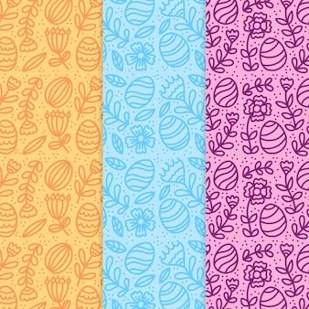 Pacote de padrão de dia de páscoa de mão desenhada