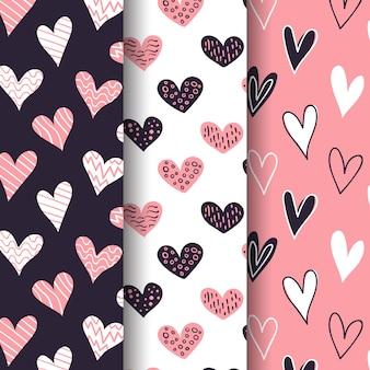 Pacote de padrão de dia dos namorados de mão desenhada