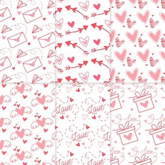 Pacote de padrão de dia dos namorados desenhada
