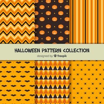 Pacote de padrão de halloween laranja