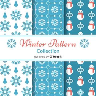 Pacote de padrão de inverno plana