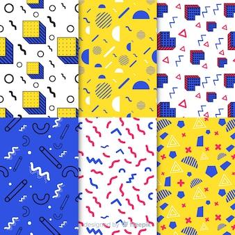 Pacote de padrão de memphis sem costura