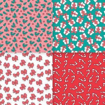 Pacote de padrão de natal desenhado à mão