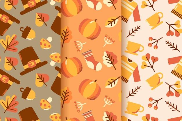 Pacote de padrão de outono de design plano