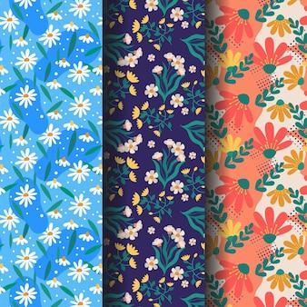 Pacote de padrão de primavera desenhado