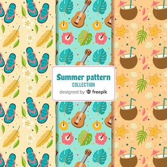 Pacote de padrão de verão desenhada de mão