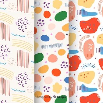 Pacote de padrão desenhado mão abstrata