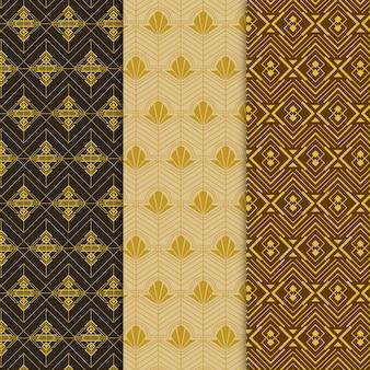 Pacote de padrão dourado art déco