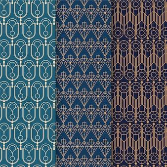 Pacote de padrão elegante em art déco