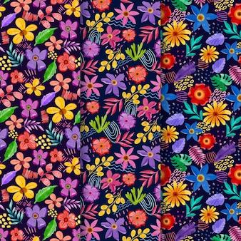 Pacote de padrão floral aquarela abstrato