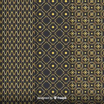 Pacote de padrão geométrico de luxo dourado
