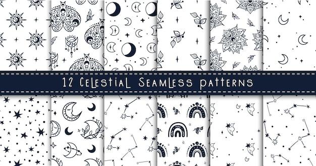 Pacote de padrão sem emenda de lua celestial em preto e branco, arco-íris, estrelas