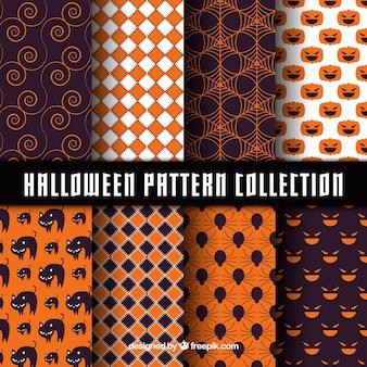 Pacote de padrões abstratos com elementos do dia das bruxas