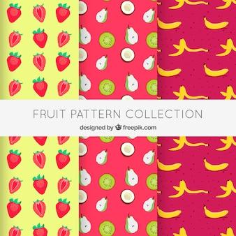 Pacote de padrões coloridos com deliciosas frutas