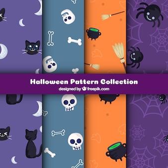 Pacote de padrões coloridos com elementos de halloween