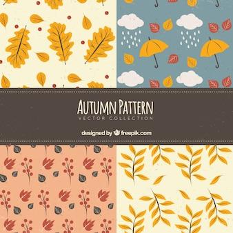 Pacote de padrões com elementos outonais