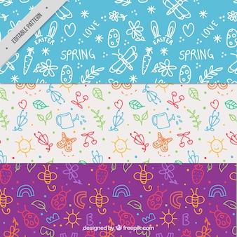 Pacote de padrões da mola com doodles bonitos