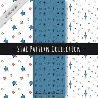 Pacote de padrões de azul e branco com estrelas desenhados à mão