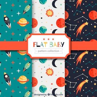 Pacote de padrões de bebê com planetas