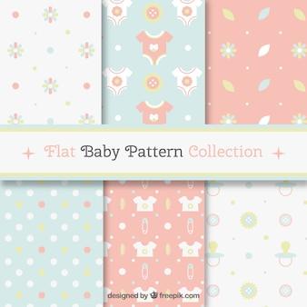 Pacote de padrões de bebê em cores suaves