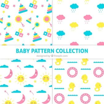 Pacote de padrões de bebê plano