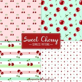 Pacote de padrões de cerejeira de aguarela