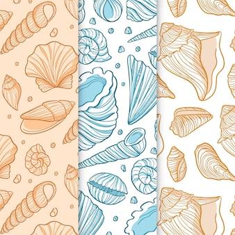 Pacote de padrões de concha sem emenda de design plano