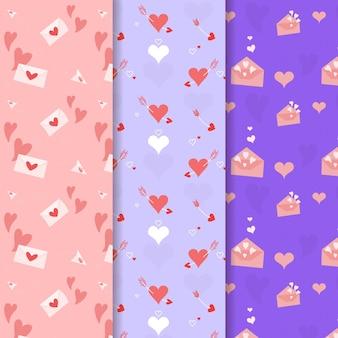 Pacote de padrões de coração bonito mão desenhada
