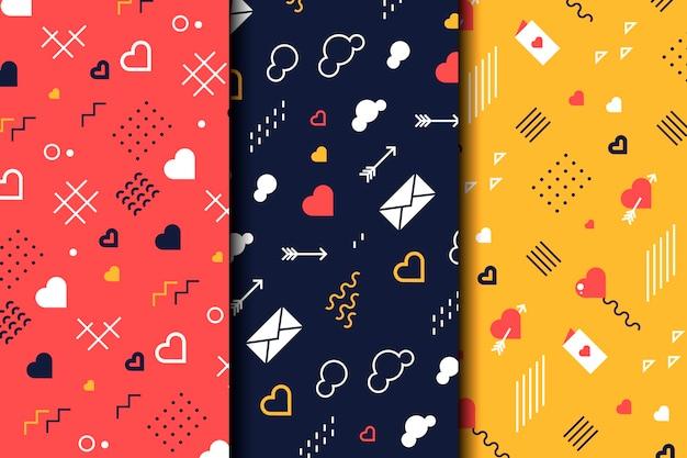 Pacote de padrões de design plano para o dia dos namorados