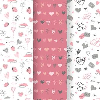 Pacote de padrões de dia dos namorados desenhado à mão