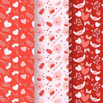 Pacote de padrões de dia dos namorados linda mão desenhada