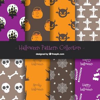 Pacote de padrões de elementos de halloween