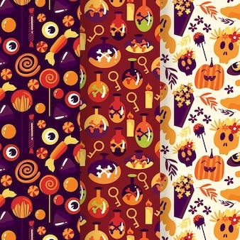 Pacote de padrões de halloween de design plano