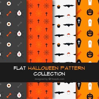 Pacote de padrões de halloween no design plano