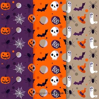 Pacote de padrões de halloween plana