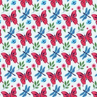 Pacote de padrões de insetos e flores