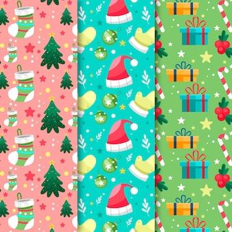 Pacote de padrões de natal de design plano