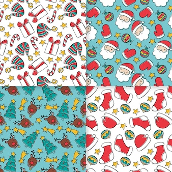 Pacote de padrões de natal desenhado à mão