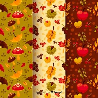 Pacote de padrões de outono planas