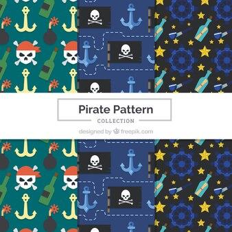 Pacote de padrões de pirataria em design plano