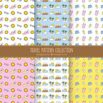 Pacote de padrões de verão e de elementos de viagem desenhados à mão