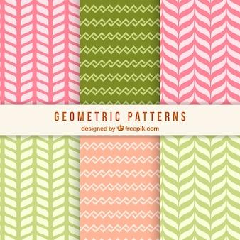 Pacote de padrões decorativos com formas bastante geométricas