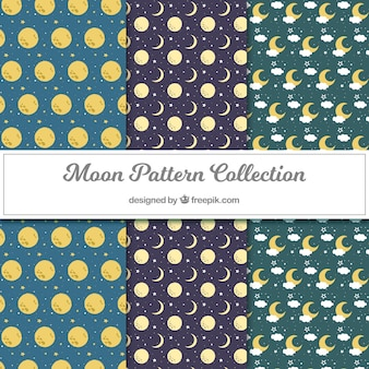 Pacote de padrões decorativos com luas e estrelas