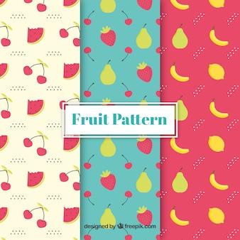 Pacote de padrões decorativos de frutas