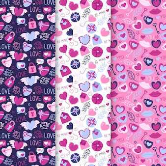 Pacote de padrões desenhados para o dia dos namorados