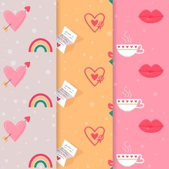 Pacote de padrões do dia dos namorados adorável