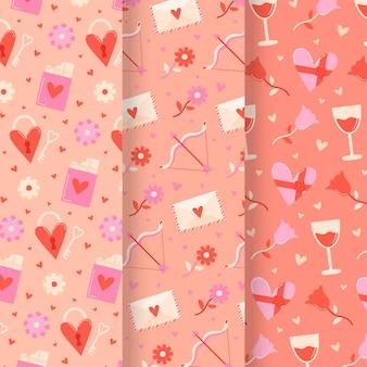 Pacote de padrões do dia dos namorados desenhados à mão