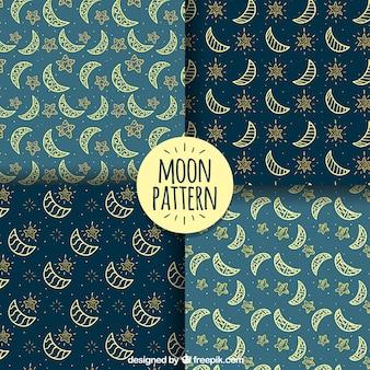 Pacote de padrões fantásticos com luas ornamentais e estrelas