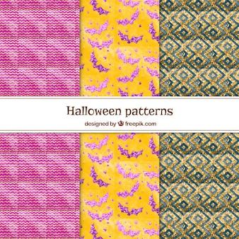 Pacote de padrões geométricos de aguarelas de halloween